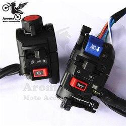 1 para wielofunkcyjny przełączniki motocyklowe uniwersalny motocykl kierownica przełącznik włącz sygnał świetlny przycisk uniwersalny sygnał dźwiękowy