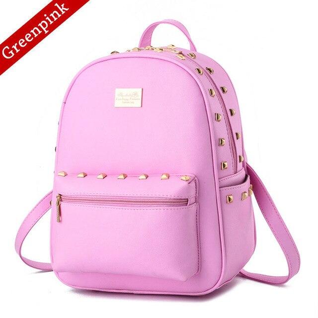 b0db7465aa97 Women Backpack Rivet Soft High Quality PU Leather Bag Mochila Escolar  School Bags For Teenagers Girls
