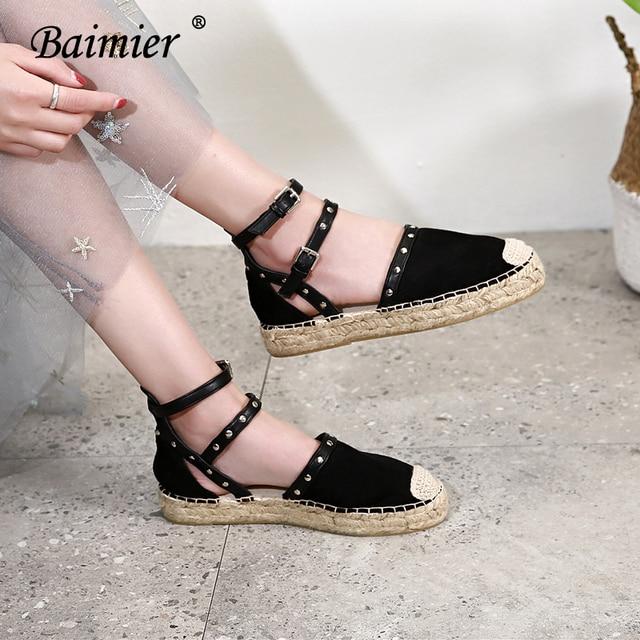 bf5d56763e9 Baimier Women Buckle Strap Espadrilles Flat Sandals 2018 Summer Rivet Women  Platform Sandals Fashion Vacation Beach Shoes Woman