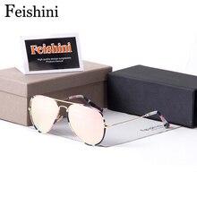 FEISHINI High Quality Shop Counters Pilot Sunglasses Women Brand Designer Original Mirror Steampunk Mirror Glasses Men UV400
