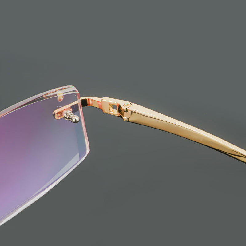 Image 5 - Gmei Optical Phantom trimming titanium eyewear male model diamond trimming Gold rimless finished prescription glassses for Men-in Men's Eyewear Frames from Apparel Accessories on AliExpress