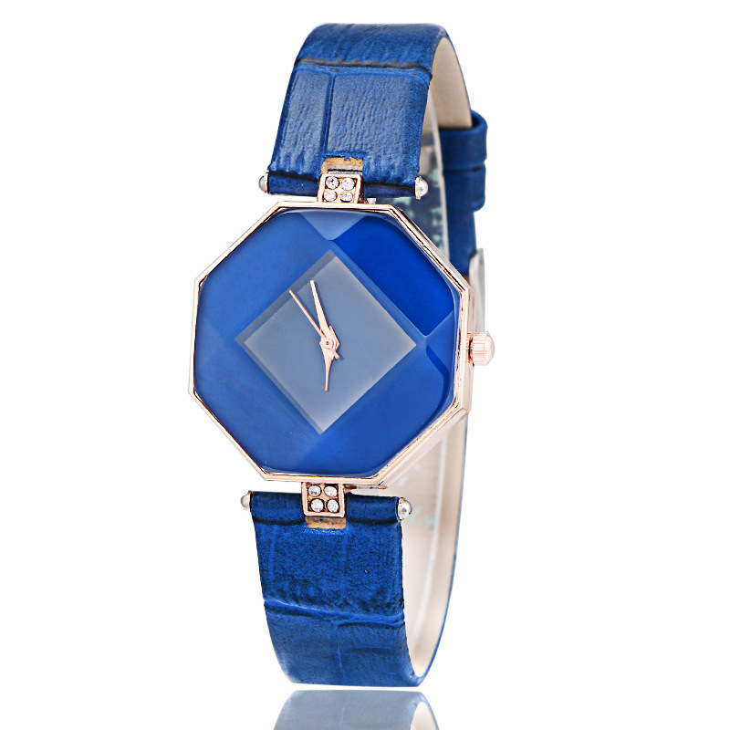 Women Dress Watches Blue Gem Cut Geometry Crystal Leather Wristwatch Fashion Casual Bracelet Watch Ladies Clock Relogio Feminino(China)