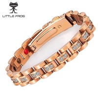 LITTLE FROG Zricon Female Magnetic Bracelet Women Fashion Stainless Steel Germanium Care Jewelry for Women Charm Bracelet