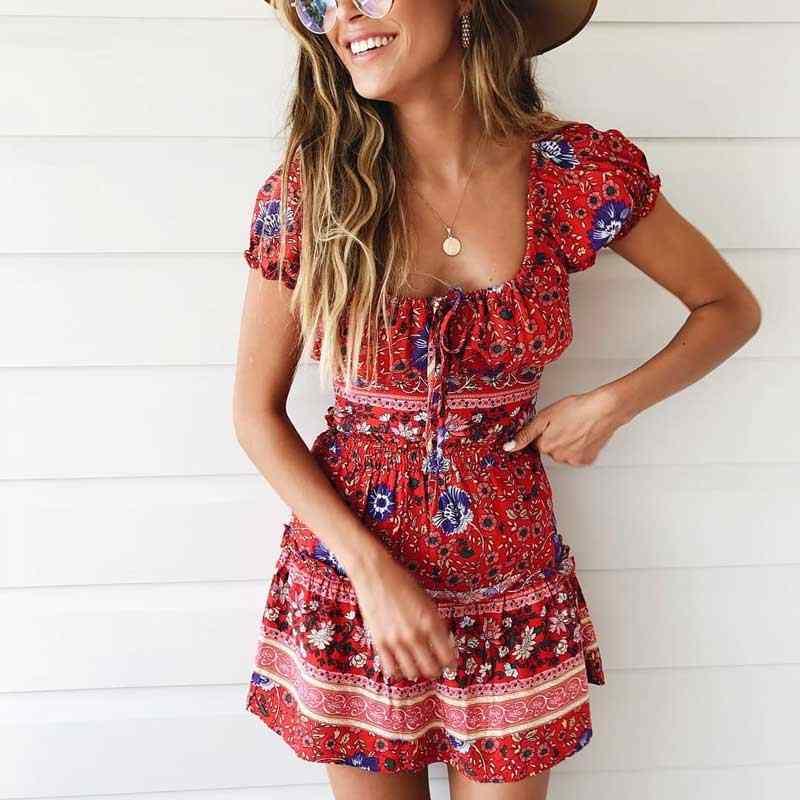 Бохо платье красное вино цветочный принт мини платье с открытыми плечами сексуальное 2019 весна лето платье с эластичным поясом Милая Праздничная пляжная одежда
