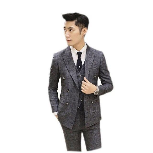 2016 new arrival High quality gray plaid men's weding dress,one button casual suit men,gray men's Business suits,plus-size XXXL