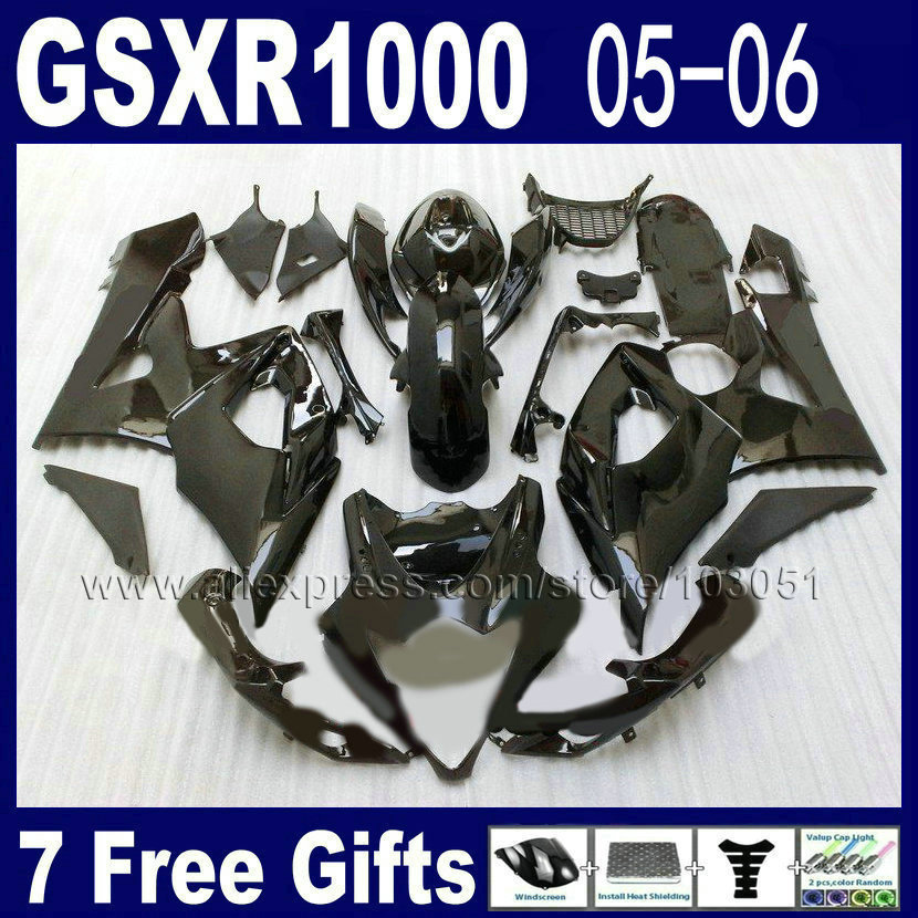OEM Injection moulding moto fairing kit for suzuki K5 GSXR 1000 2005 2006 kits 05  06 all glossy black full fairings kits custom road fairing kits for suzuki glossy flat black 2006 gsxr 1000 k5 2005 gsx r1000 06 05 motorcycle fairings kit