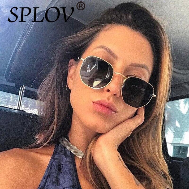 2017 Ray diseñador de la marca mujeres polarizadas Gafas de sol cuadrado polígono Gafas de sol hombres retro Sol Gafas hexágono metal Marcos superior UV400