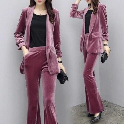 Or Femme Professionnel Deux Pantalon Automne Décontracté Velours Nouveau Costume pièce Mince Femmes De Mode 1 Taille Grande BrBSwqTxA