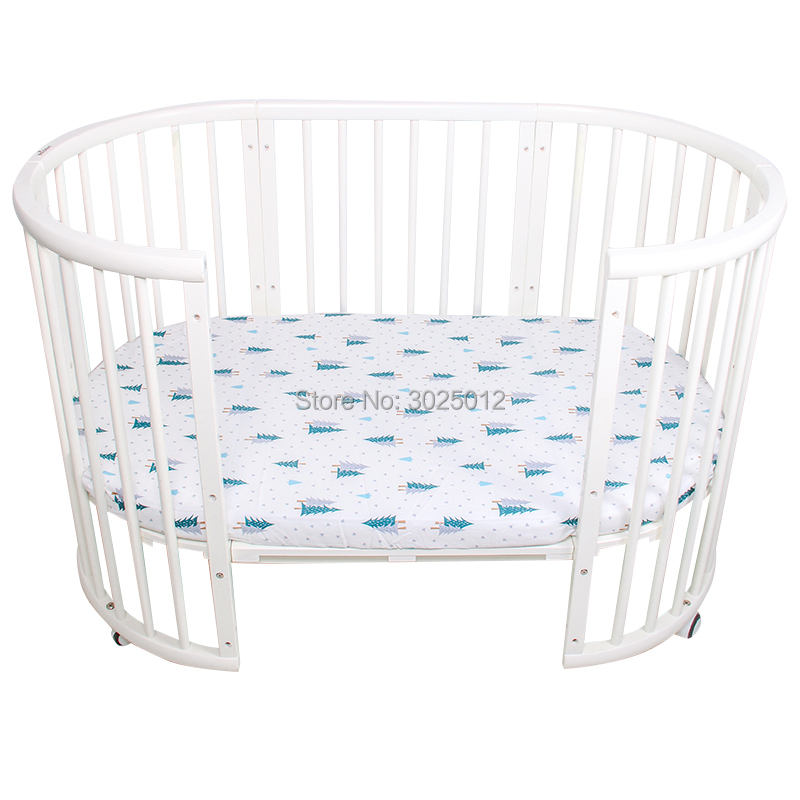 Crib Fitted Sheet 100% Cotton Baby Bed Mattress Cover Protector Cartoon Newborn Bedding For Cot Fitted Crib Sheet With Elastic