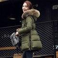 Más tamaño las mujeres embarazadas abrigo de invierno abajo de algodón acolchado de down de prendas de maternidad embarazo ropa de abrigo con capucha caliente