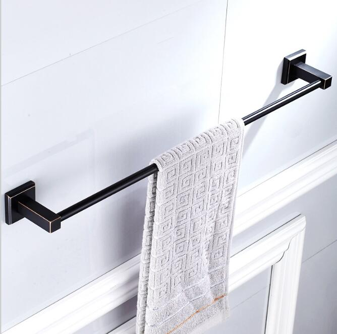 High Quality Black Oil Nickle Towel Hanger wall mounted 24 inch Single Towel Bar/Towel Holder Bathroom accessories Towel Rail luxury artistic towel bar single towel holder wall mounted bathroom towel rail rod oil rubbed bronze finish