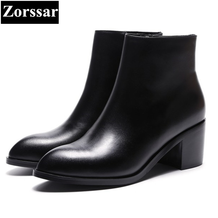 {Zorssar} Genuine Leather Women Riding Boots High heels ankle boots thick heel pointed Toe Martin boots winter female shoes