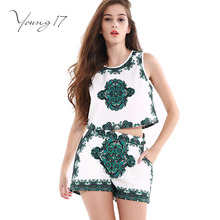 Young17 suit women blouse 2017 summer fashion print green sleeveless shorts casual female blouse o neck Patchwork women suit(China)