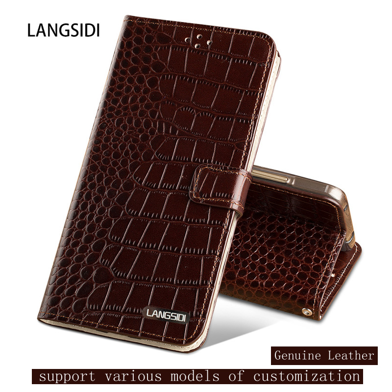 Genuine Leather case For Samsung C9 Crocodile texture Flip case For Samsung J7 magnetic Dual card slots Silicone Soft cover