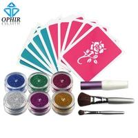 OPHIR 6 Colori In Polvere Shimmer Glitter Kit Tatuaggio Temporaneo per Body Art Design Vernice con Stencil Colla e Spazzole _ TA054