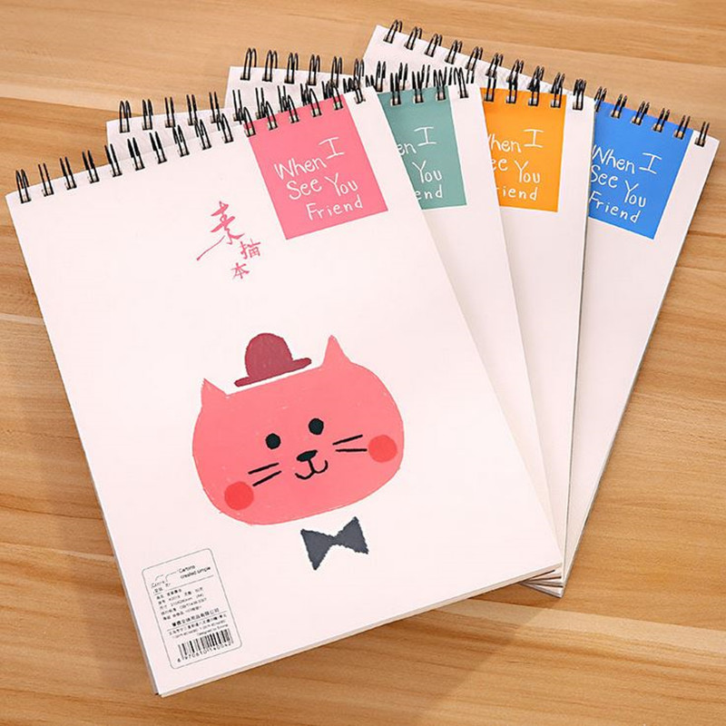Coloffice 1PC Large A4 Cute Cartoon Animals Coil Sketchbook 50 Pages Composition Book White Paper For Kid Notepad School Office