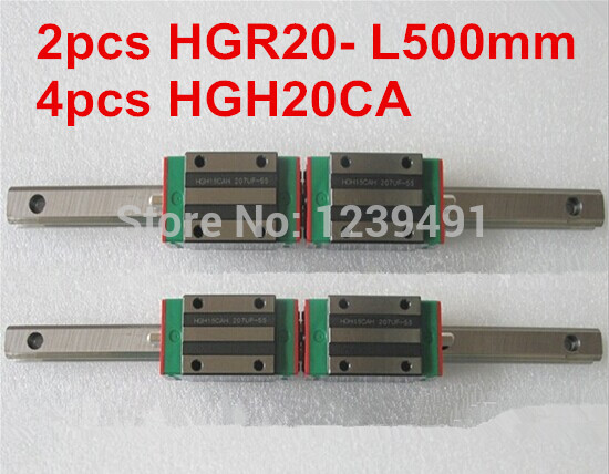 2pcs HIWIN linear guide HGR20 -L500mm with 4pcs linear carriage HGH20CA CNC parts 100% new hiwin linear guide hgr20 l500mm rail 2pcs hgh20ca narrow carriages for cnc router cnc parts