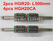 2pcs HIWIN linear guide HGR20 -L500mm with 4pcs linear carriage HGH20CA CNC parts