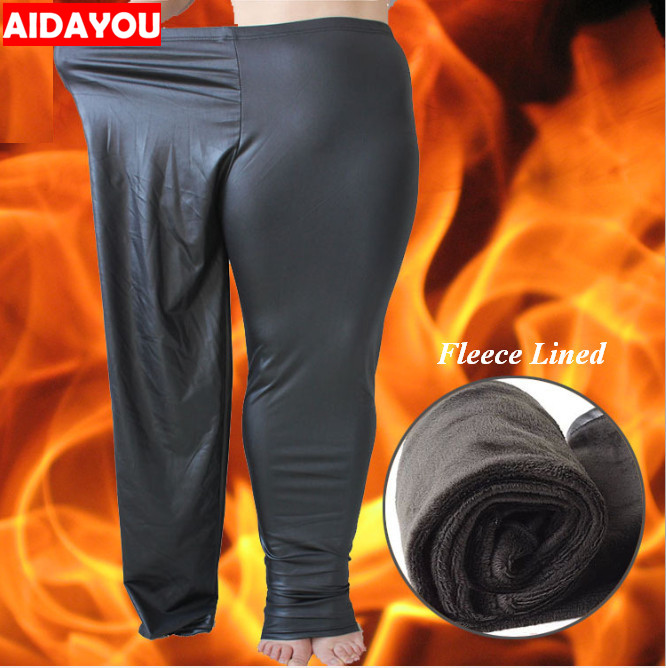 Winter Fleece Lined Warm   Leggings   Plus Size 5XL 6XL Faux Leather Stretchy Black Pants Elastic Perfect Control   Legging   ouc1687