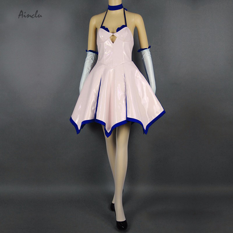 Ainclu Free Shipping Fate stay night Unlimited Blade Works Saber Fantasy Dress Anime Cosplay Women Adult Kid Costumes