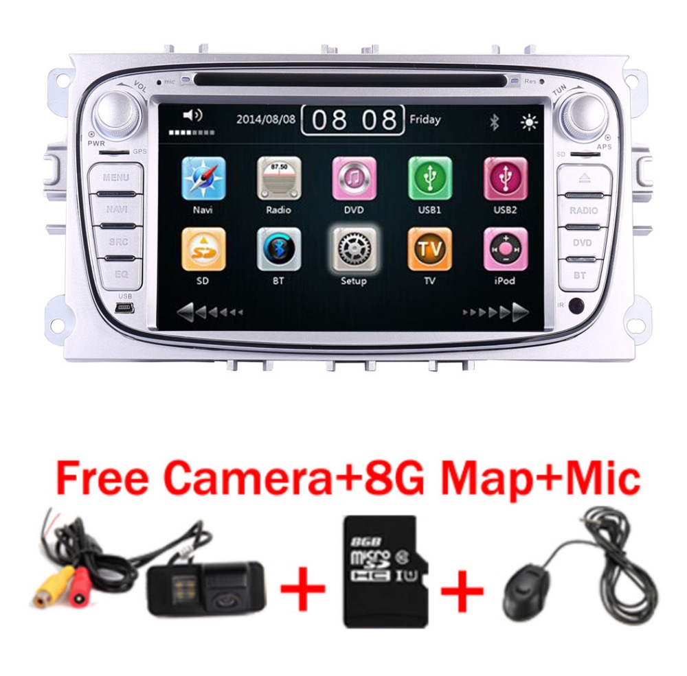 2 Din 7 Inch Car DVD Player For FORD Mondeo S-MAX C max FOCUS 2 2008-2011 With 3G Radio GPS Navigation BT 1080P 8GB Map free shipping centrum ultra men multivitamin multimineral supplement 120 pcs