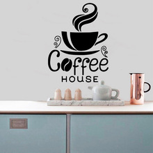 Free Shipping Coffee house Sticker Waterproof Vinyl Wallpaper Home Decor For Kitchen Art Decal