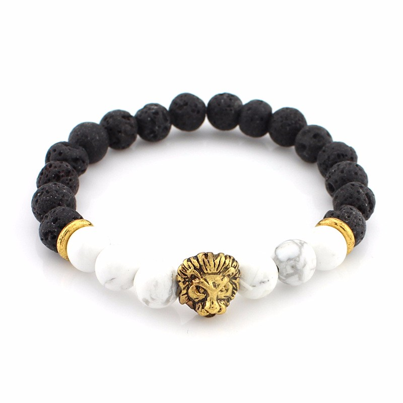 black-lava-stone-bracelets-with-gold-lion-with-white-colored-natural-stones