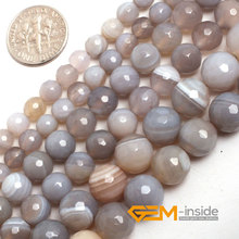 цена 6mm 8mm 10mm round faceted banded agate beads natural stone beads DIY loose beads for jewelry making strand 15 inches wholesale