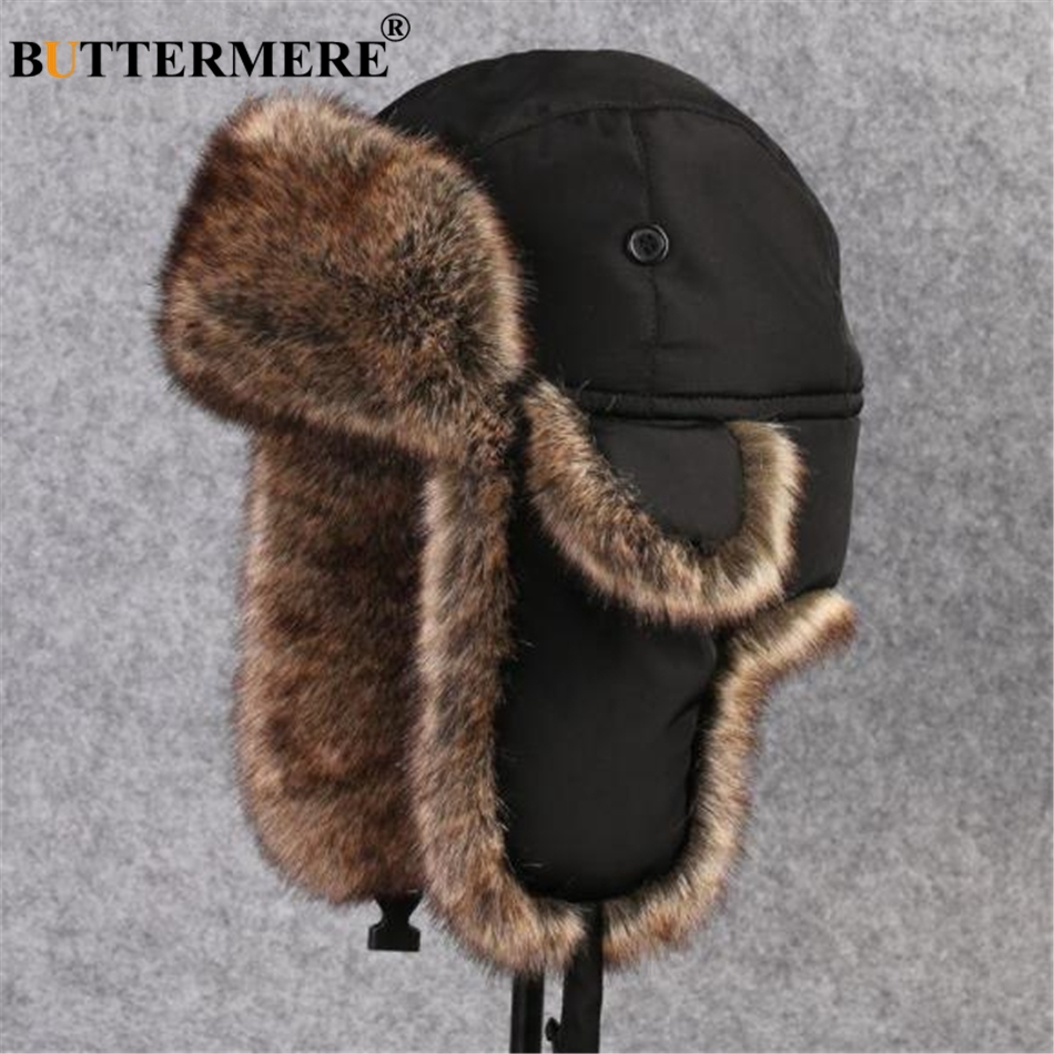 dc805b29 BUTTERMERE Black Mens Bomber Hats Warm Thick Winter Hat Ear Flaps Russian  Soviet Ushanka Hat Windproof Ski Ourdoor Trapper Hat-in Bomber Hats from  Apparel ...