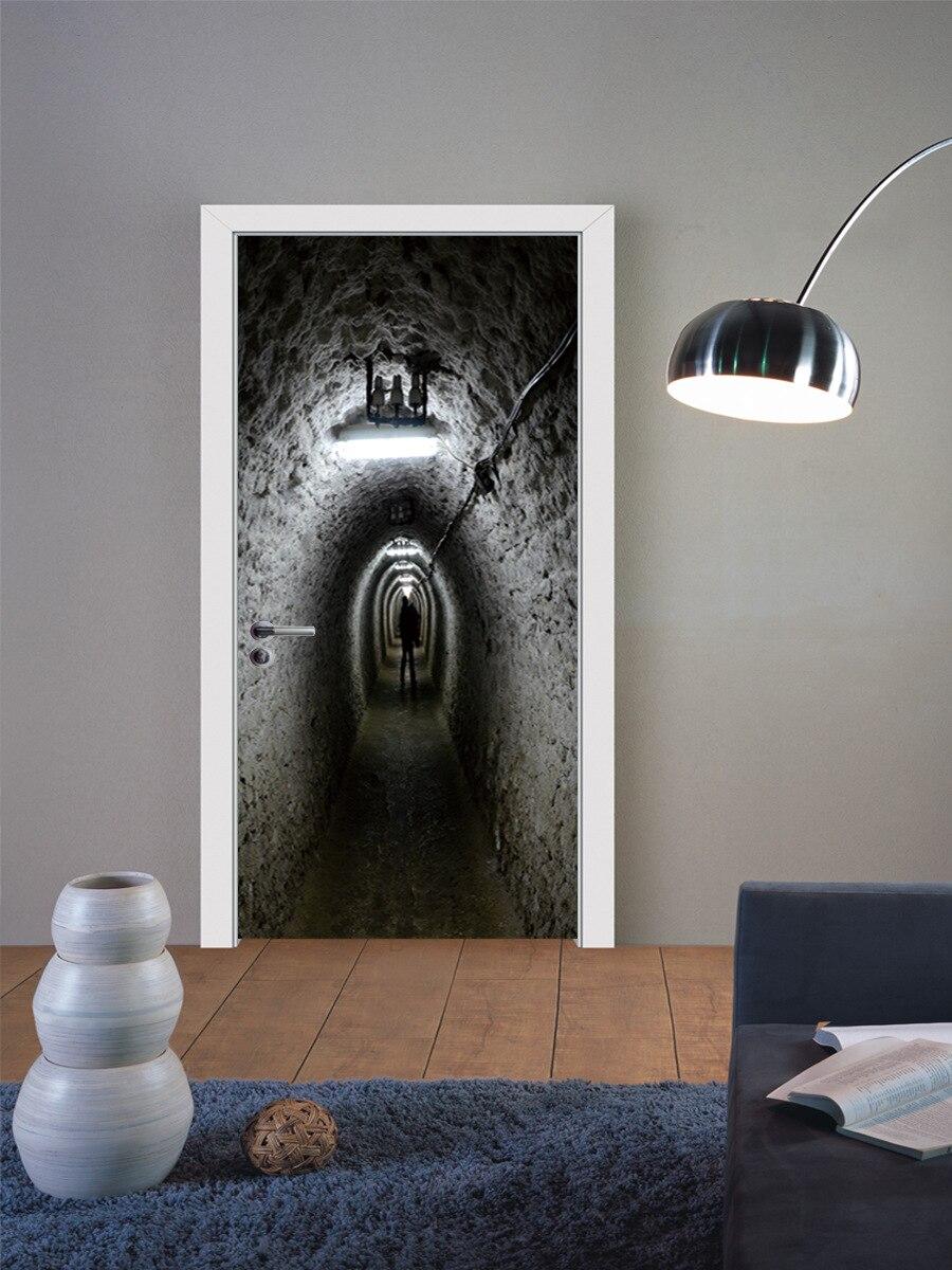 Absenteeism tunnel shower room door halloween stickers for Hotel door decor