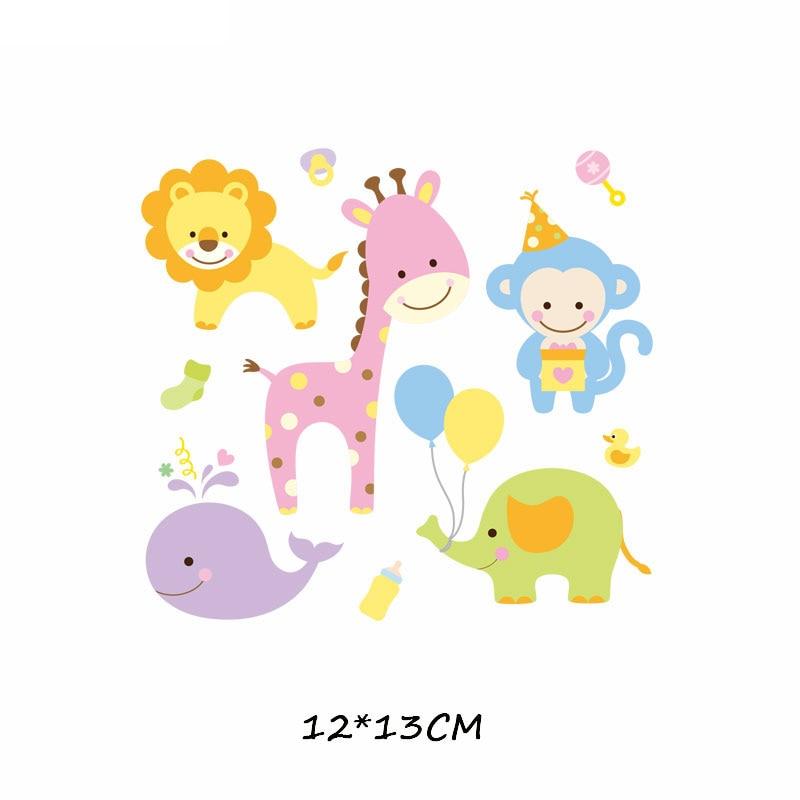 Железные милые нашивки в виде животных набор для детей Одежда DIY Футболка аппликация теплопередача виниловая нашивка единорога наклейки термопресс - Цвет: 503