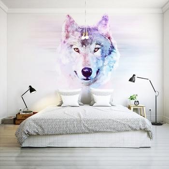 beibehang Custom 3D Stereo Large Mural Wolf Totem Animal Wallpaper Bedroom Living Room TV Background Wall Covering Non-woven цена 2017