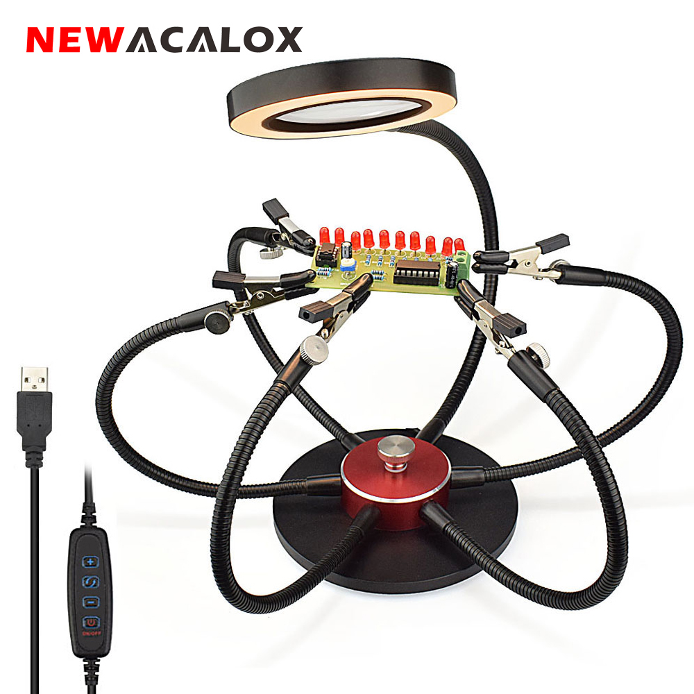 NEWACALOX Soldering Iron Holder USB LED Lights 3X Magnifying Glass 6 Pcs Flexible Arms Soldering Station Third Hand Welding Tool