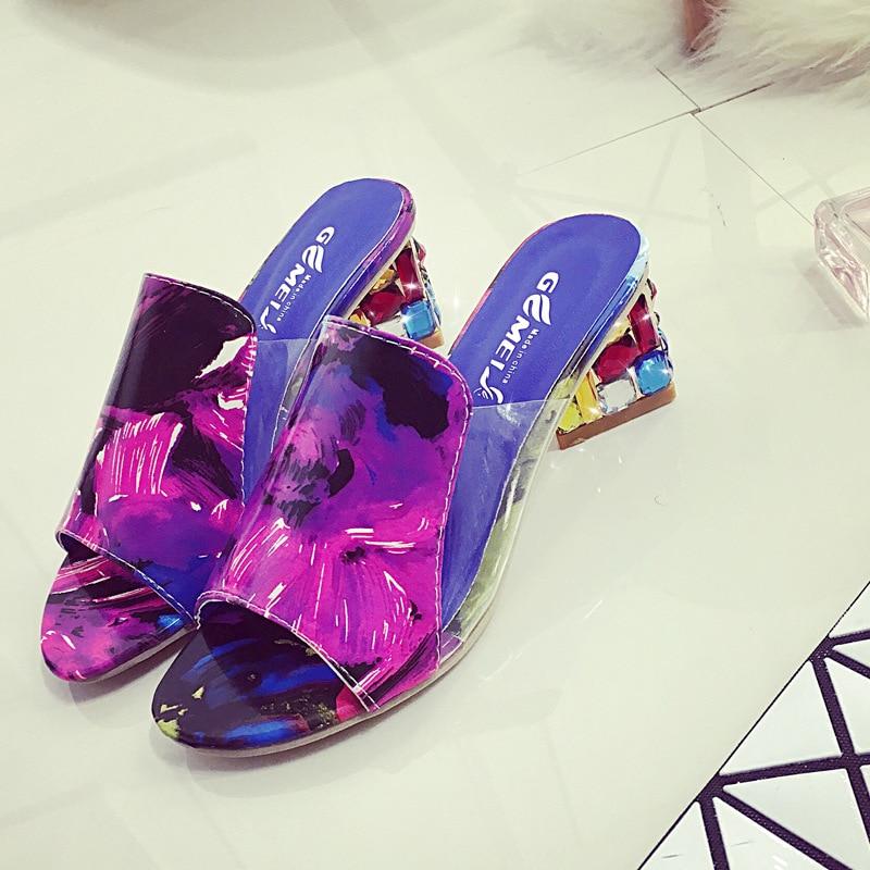 Mujeres Y Mujer Boca Gran Gruesa Pescado Verano Zapatos Con Tamaño Rojo 2016 De Zapatillas blanco Moda Sandalias Nuevo Rhinestones Las qSxvfattwR
