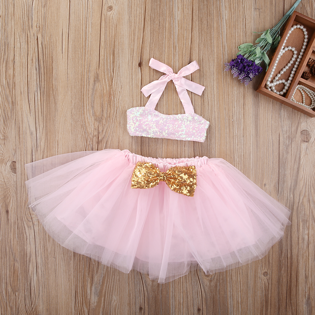 Sequins Little Girls Summer Skirt Clothing Set Baby Girl Halter Top+Bow Tutu Skirts  Princess Tulle Toddler Flower Clothes 0-3T 4th july america usa heart girls royal blue top bling sequins baby skirt 3 12m