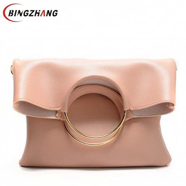 41d58e1f4dab2 2019 New Korean Fashion Female Handbag Leather Dual Function Women  Messenger Bag Big Gold Ring Designed Ladies Tote Bag Hot L8-4