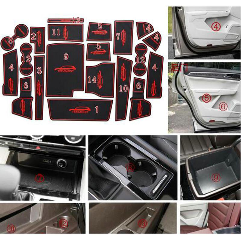STYO  Car Silica Gel Gate Slot Pad Teacup Pad Non-slip Pad For VW Teramont  2017 2018