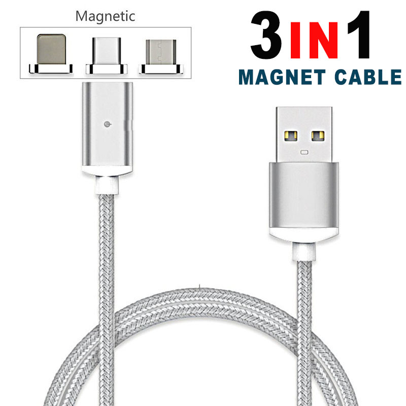 3 IN 1 Nylon Magnetic Micro <font><b>USB</b></font> Data <font><b>Cable</b></font> <font><b>For</b></font> <font><b>iPhone</b></font> 5 6 6s 7 8 Plus <font><b>3in1</b></font> Charger <font><b>For</b></font> Samsung S6 S7 S8 Android Type-C Charging image