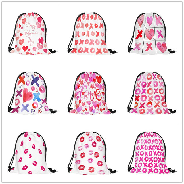 Valentine S Day Drawstring Bag Cotton Fabric Sack Sport Gym Travel