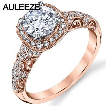 eefecc1572c7 Antiguo inspirado moissanites Anillos 1ct Lab crecido diamante 14 K 585 oro  rosa de compromiso boda