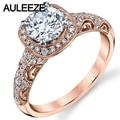 Antique Inspired Moissanites Anillos 1CT Lab Grown Diamond 14 K 585 de Oro Rosa de Compromiso Anillos de Boda Para Las Mujeres De La Navidad