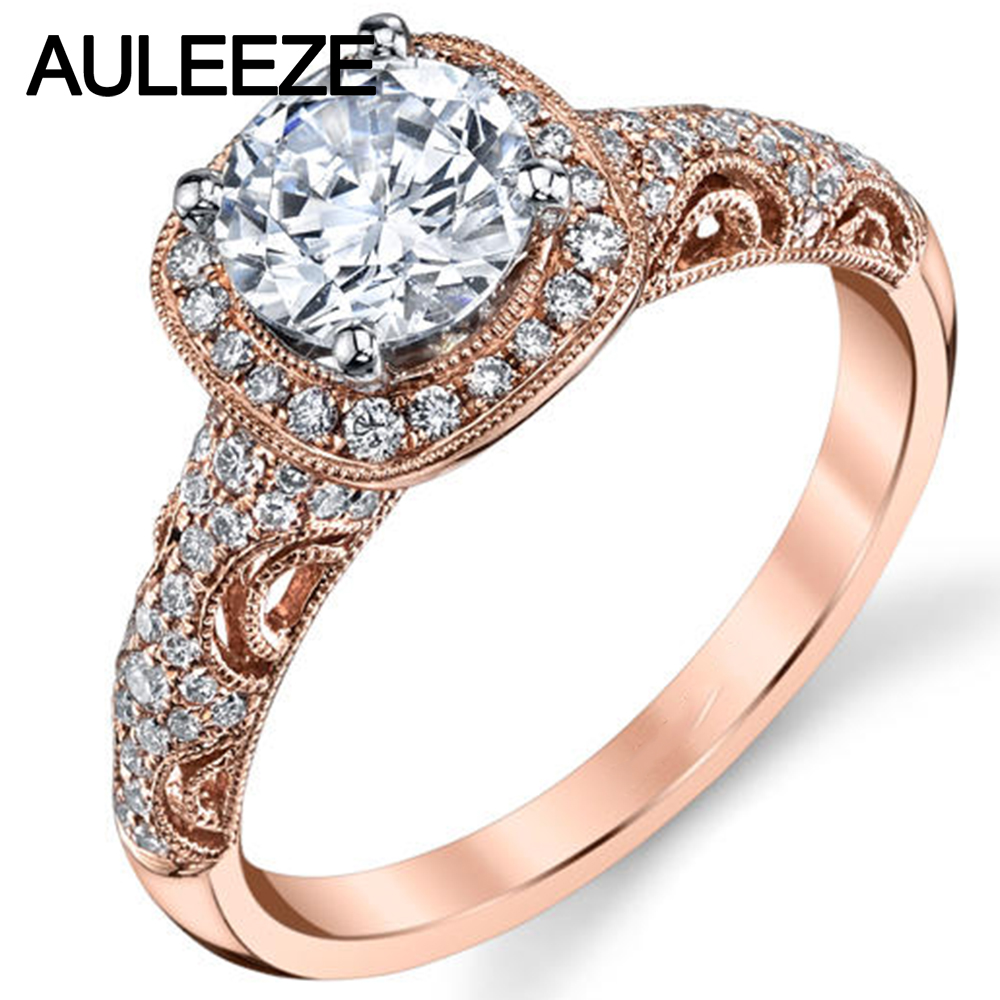Antique Inspired Moissanites Rings 1CT Lab Grown Diamond 14K 585 Rose Gold Engagement Wedding Rings For Women Christmas Jewelry helon solid 18k 750 rose gold 0 1ct f color lab grown moissanite diamond bracelet test positive for women trendy style jewelry