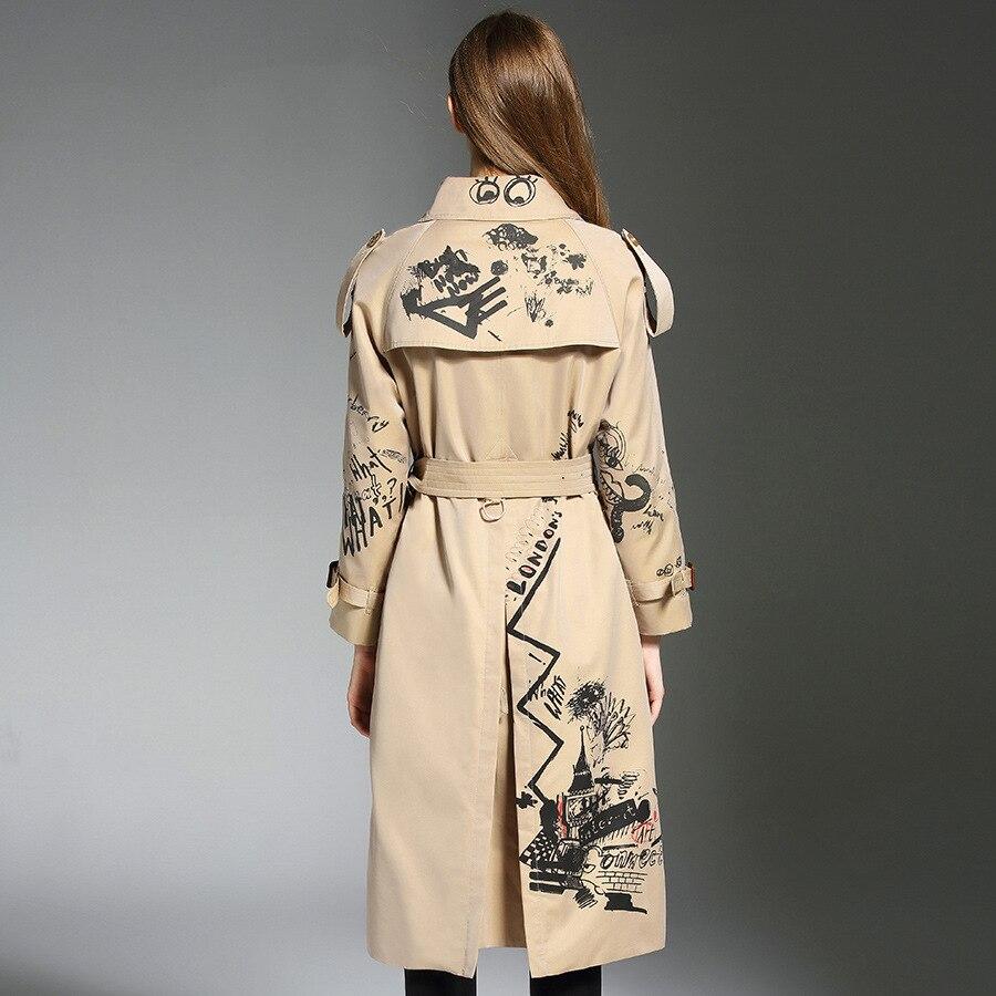 Femmes Chaude Lady coat Kaki 2018 Élégante Ceinture Lâche Manteau Chic D498 vent Trench Coupe Imprimer Mode De Automne UxZIU4