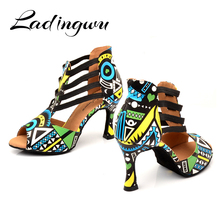 Ladingwu Brand Latin Dance Shoes Ladies Dance Boots Elastic band adjustment Ballroom Dance Shoes Blue African texture Shoes
