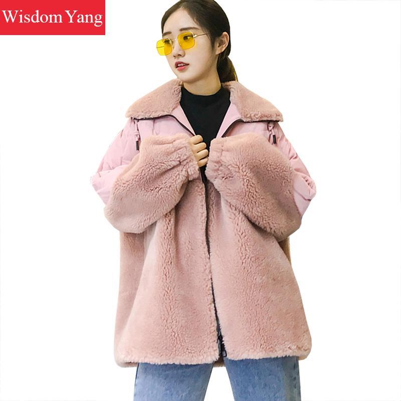 Winter Sheep Shearing Coat Jackets Caots Blue Pink White Wool Cashmere Short Coats Womens Oversize Woolen Overcoat Outerwear