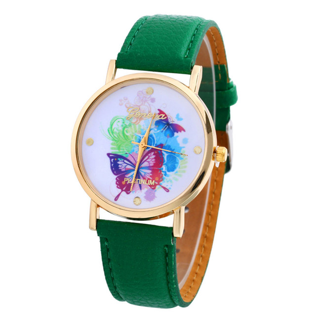 Leather Band Analog Quartz Vogue laides Wristwatch Butterfly print pattern New Style Woman watches Lady Watch Hot Sale 2019 30Q