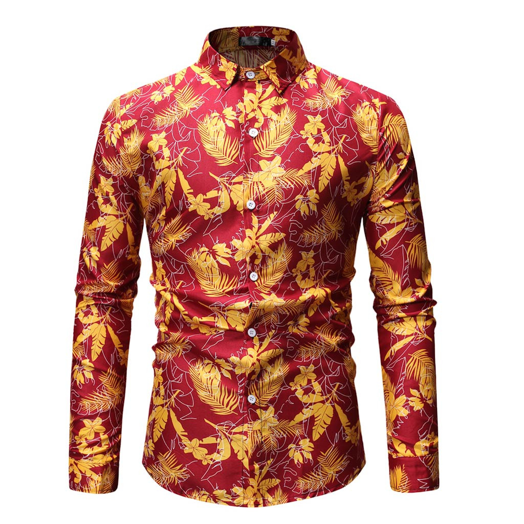 ISHOWTIENDA Casual Business Men Dress Shirts Luxury Brand Long Sleeve Floral Printed Man Casual Shirts #w30