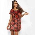2016 Европа и Америка лето горячая продажа девушки женщин шею с коротким рукавом вскользь цифровой печати платье женщины сарафан CD1900