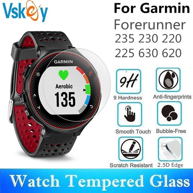 VSKEY 20 PCS מזג זכוכית עבור Garmin Forerunner 235 230 220 225 630 620 מסך מגן עגול Smartwatch מגן סרט