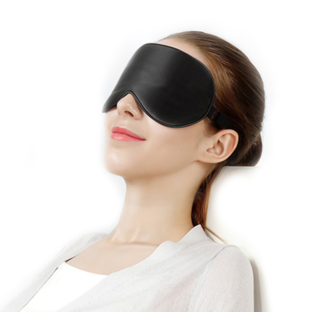 Black Massage Silk Sleep Eye Mask Portable Soft Blindfold Smooth Eye Bandage Travel Sleeping Rest Eyeshade